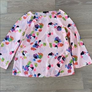 Banana republic floral ruffle top medium pink